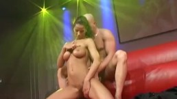 couple fucking on public show stage