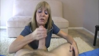 Milf blonde cocks likes huge cumshot stroking