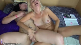 Old granny teaches young girl with dildo and then they have sex