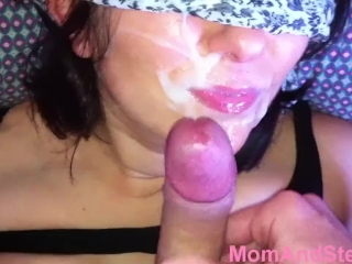 Mom blowjob and Cum on face Mom And Step Son