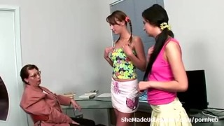 Each licking lesbian from horny teacher coeds turns watching other her old shaved girl