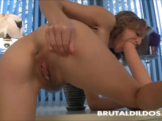 Preview 2 of Hairy blonde squirting from a big brutal dildo insertion in HD