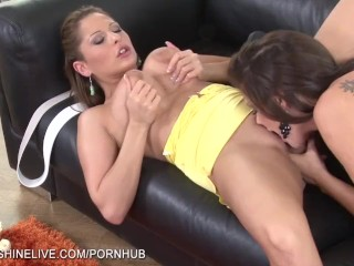 Busty brunettes playing with each other boobies and wet pussy