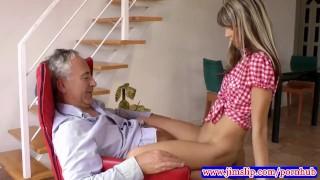 British babes make old man jizz porno