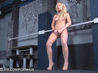 Kiara Lord in tan stockings foot fetish masturbation scene