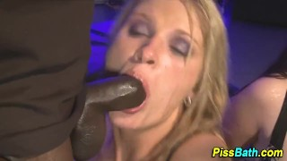 Cocksucking piss drinkers fuck in pee puddle