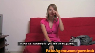 Blonde desperate is fakeagent in unusual sperm male babymaker for casting babe casting
