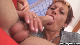 Old granny rides neighbour's big cock