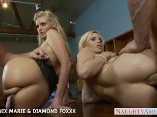 The Swinger Experience Presents Blondes Phoenix Marie and Diamond Foxxx fuck in foursome