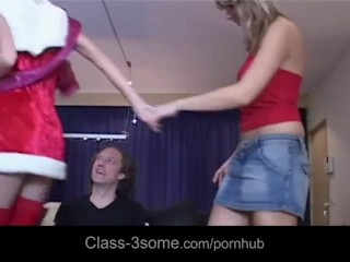 Nasty wife gives hubby hot threesome present on Christmas