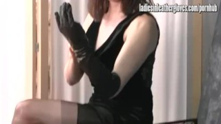 Milf hot on putting after leather gets black gloves tight her posh sexual gloves milf