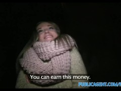PublicAgent Babe gets paid extra Christmas cash for sex with stranger