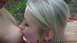 Girlfriends Hot blondes eat wet pussy in the woods