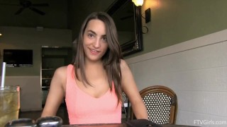 Brunette masturbates in sports store and restaurant