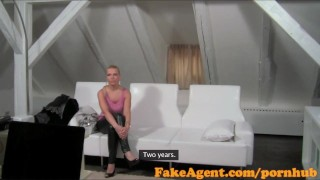 Saucy fakeagent in spunk blonde babe casting interview swallows amateur casting