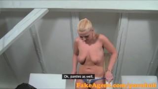 FakeAgent Blonde babe swallows spunk in Saucy Casting interview
