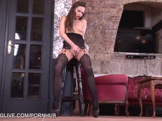 Amazing bodied Russian babe in classy bodystockings masturbating