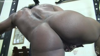 Muscular Woman Plays with Her Big Clit