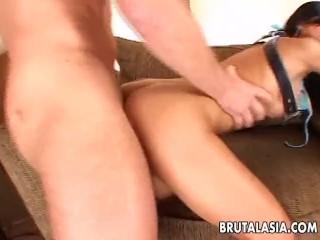 Busty asian slut enjoys rough...
