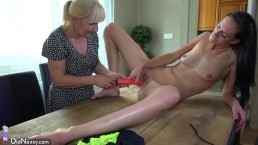 Oldnanny Old blonde mature masturbate with young girl