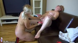 Oldnanny - Blonde Teen Girl masturbates with Lesbian Mature