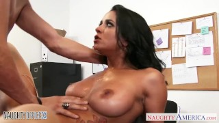 Busty brunette Abby Lee Brazil fuck in office Cream creampie