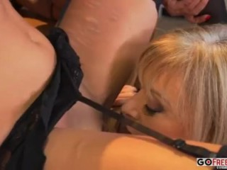 Preview 4 of Nina Hartley and Lisa Ann teach Belle Knox how to fuck