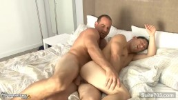 Horny brunette married Ari Sylvio suck and ride gay Girth Brooks's big cock