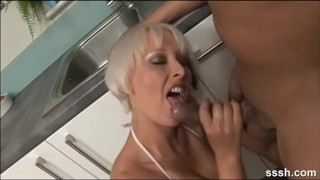 Geeky gamer blonde is fucked hard in the kitchen