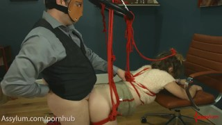 Skinny, submissive whore does ass to mouth in crazy bondage Mouth european