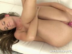 Pretty brunette Naty Lee toys her ass and pussy