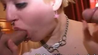 Blonde cumshot facial and tattoo pierced swallow facial