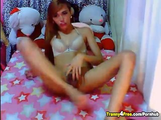 Sexy Tranny Jerking her Cock