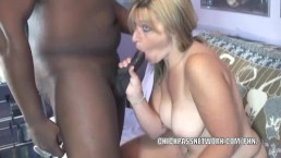 Blonde MILF Liisa is giving an interracial blowjob