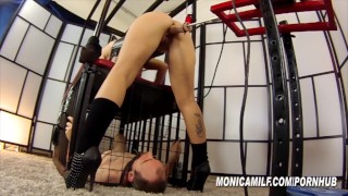 Dirty MonicaMilf squirts on her caged slave - Femdom Monica Christiansen