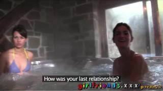 Girlfriends Lesbians nice tits hot tub fun sextape