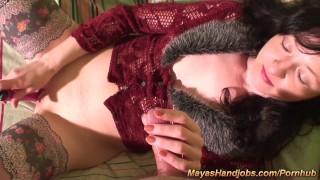 2 Maya orgasms and 3 cumshots on her body