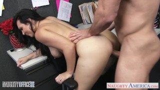 Chesty brunette Holly West ride cock in the office Big facial