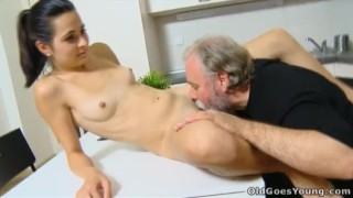 Old Goes Young - Lora and her man are in the kitchen Cock spoiledvirgins