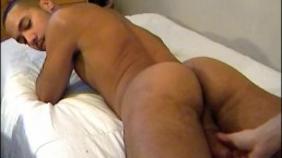 Sexy french arab sport guy serviced his big cock by us despite of himself.