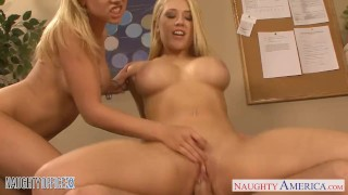 Blondes Kagney Linn Karter and Shawna Lenee fucking in the office Tits blonde