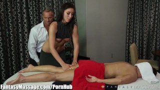 Husband Cheats with Masseuse with Wife in Room! Prostate amateur