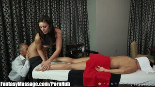 Husband Cheats with Masseuse with Wife in Room! porno