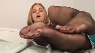 Black footjob sheer pantyhose big tits