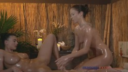 Massage Rooms Lesbian with the world's best breasts has fun with sexy teen
