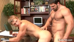 Hefty gay gets ass fucked in the office