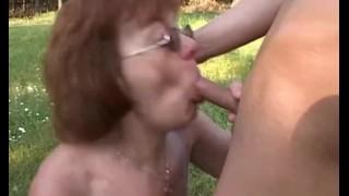 Horny Farm Boy Fucks A Redhead Mature Outdoors