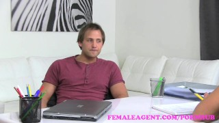 FemaleAgent. Horny blonde MILF finishes casting with a mouthful of cum Tits babe