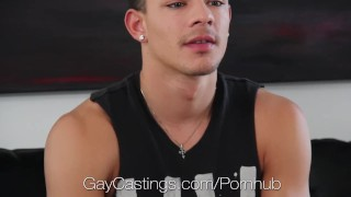 HD GayCastings - Ethan shows his deepthroat talent at his audition Sucking interview