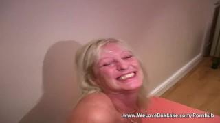 Older mature wife does bukkake